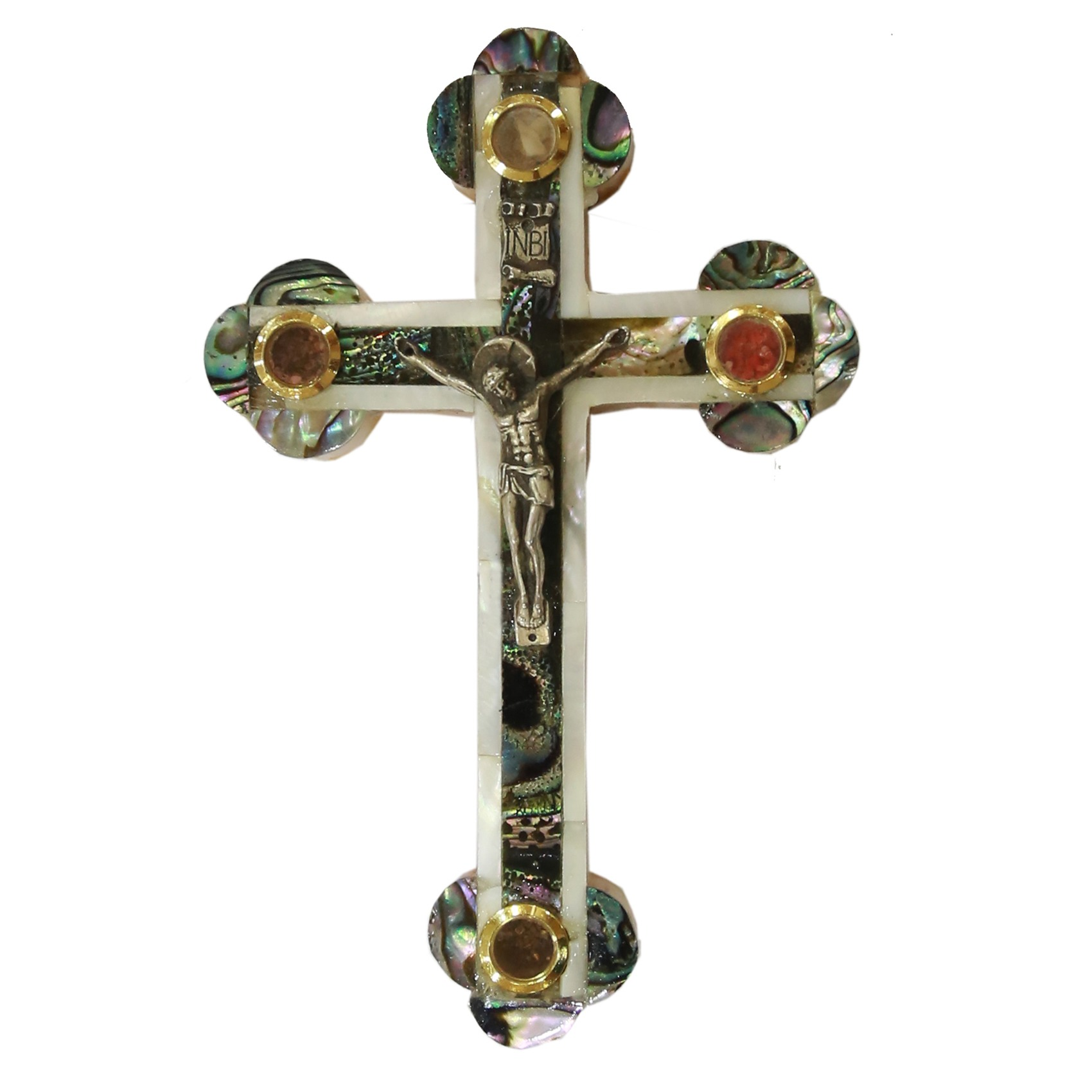 Mother Of Pearl Cross With Crucifix 4 Holy Items