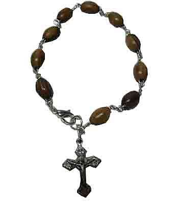Olive Wood Rosary Bracelet Hand Made Holy Land Three Arches 2