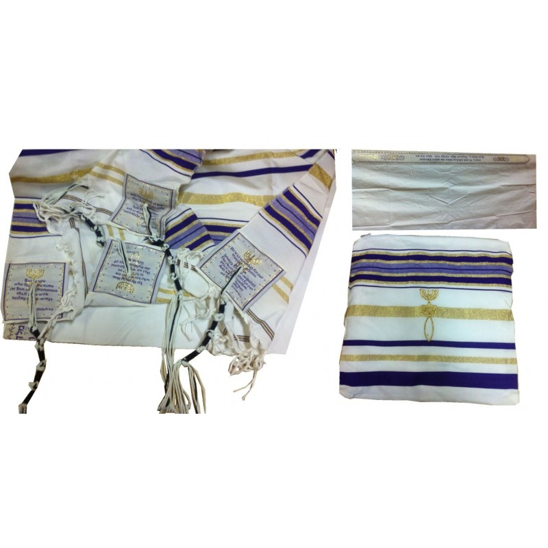 Purple Prayer Shawl Messianic Christian Sign Tallit 72*22 - Three Arches 2