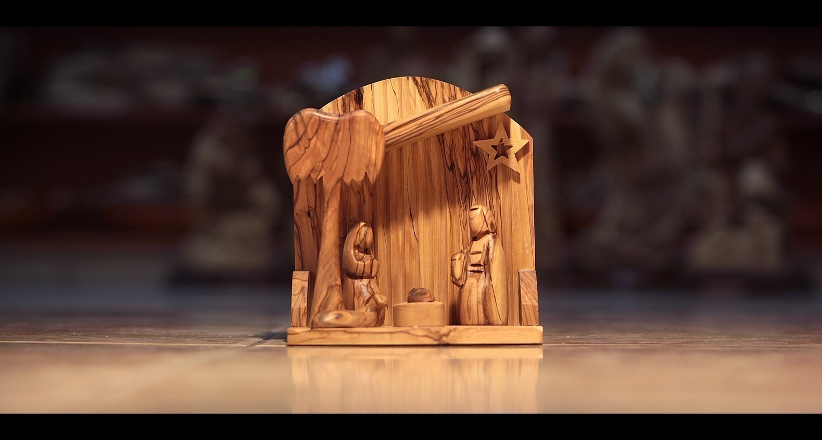 Hand Carved Bethlehem Olive Wood Nativity Set Faceless Three Arches 2