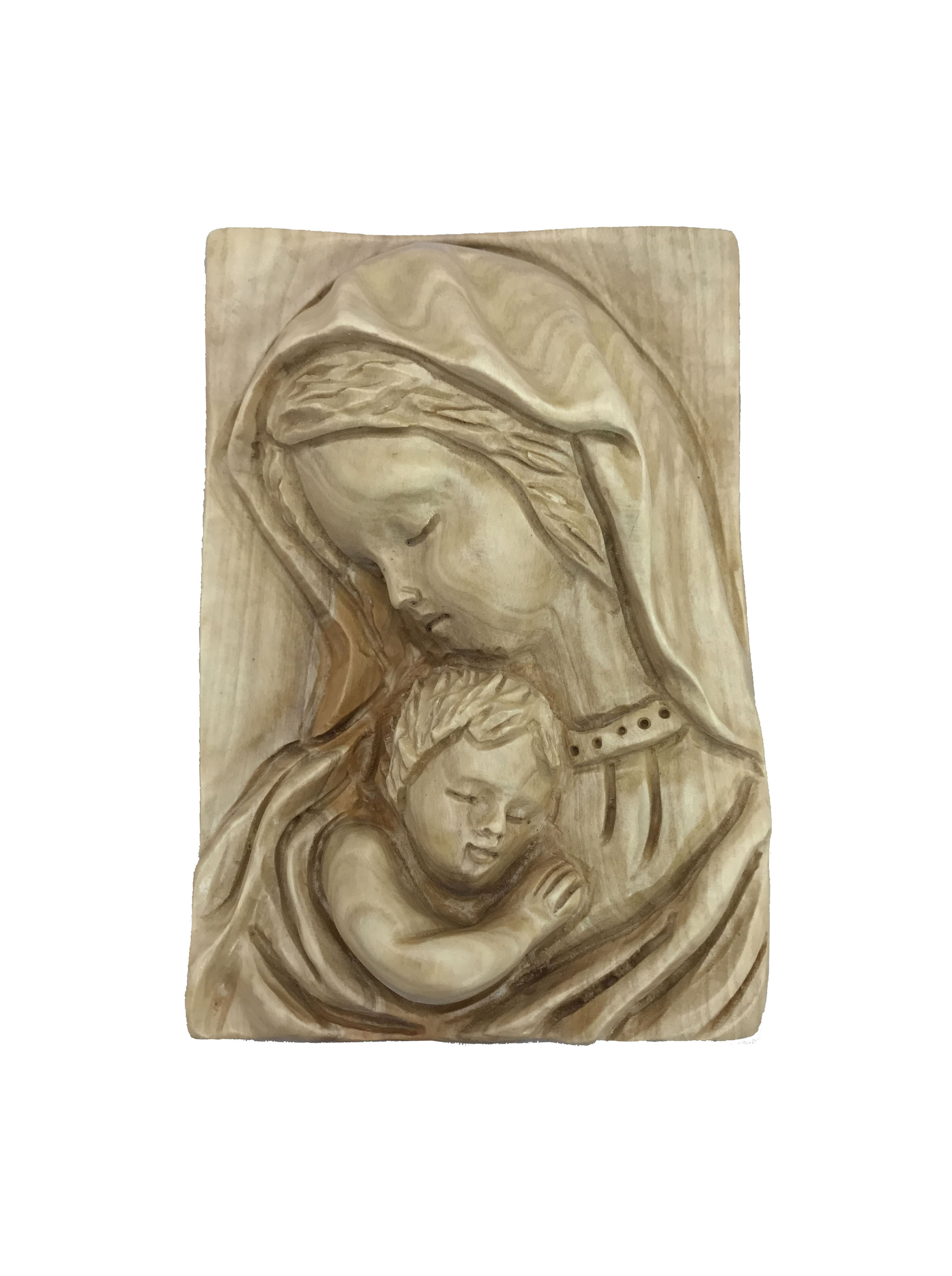 Wood Wall Hanging olive wood wall hanging virgin mary with baby jesus-sunu - three