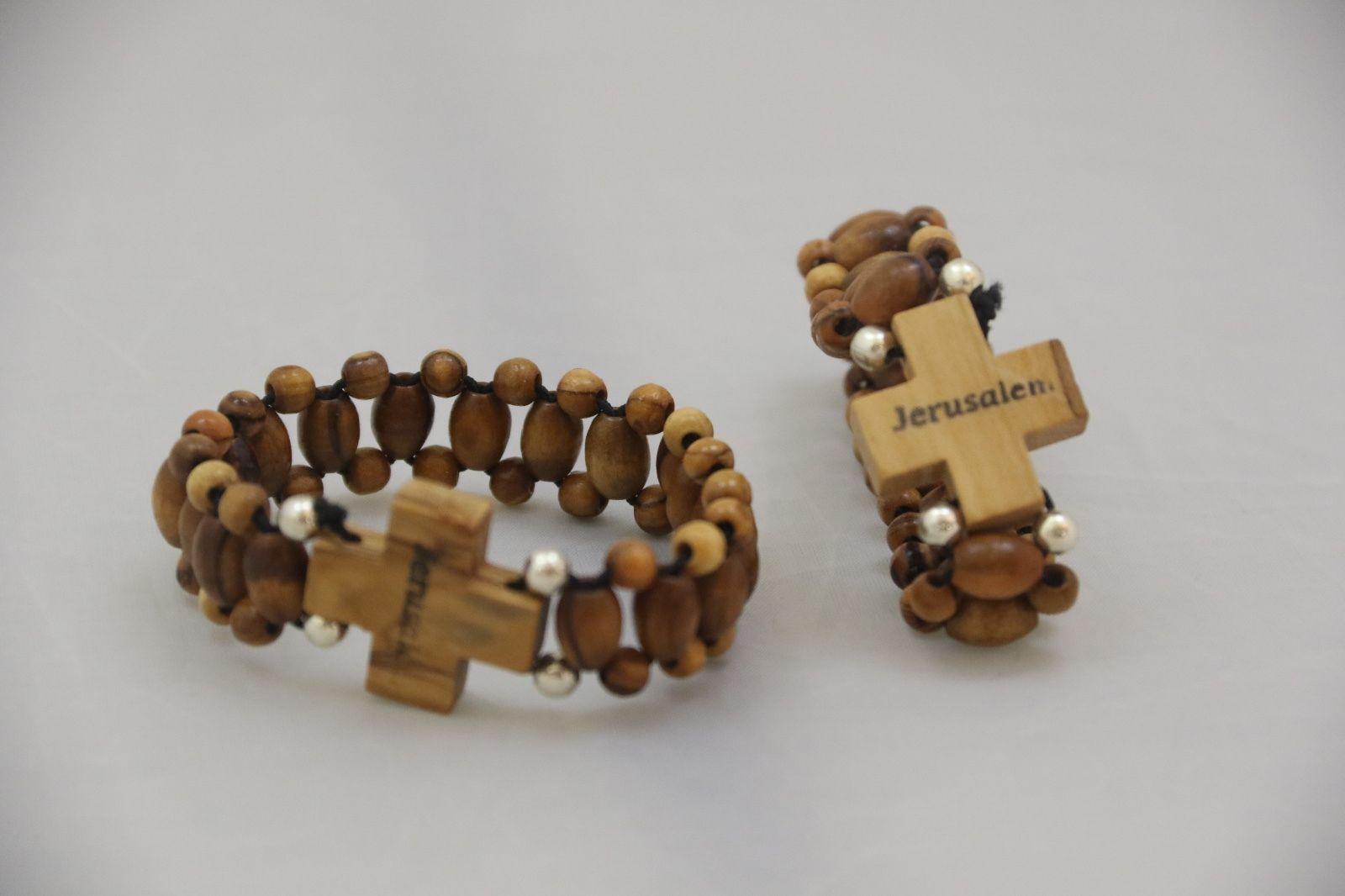 Olive Wood Rosary Bracelet Bethlehem Holy Land Three Arches 2